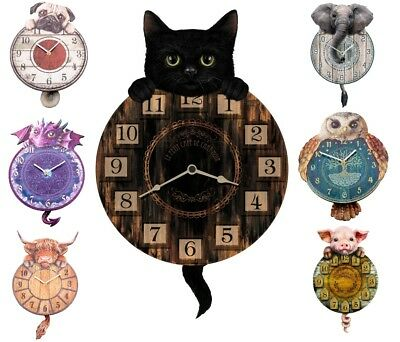 Tickin' Animal Cat Owl Dragon Elephant Dog Cow Wall Clock Pendulum Swinging Tail