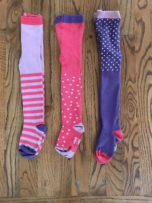 MINI BODEN Baby Toddler Girl Patterned Tights Pink 3 Pack Lot 2-3 Years