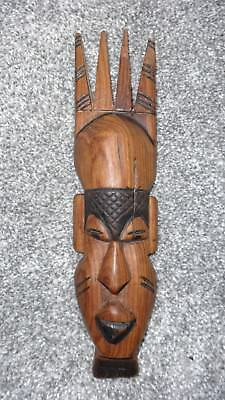 Beautiful Vintage Hand Carved Wooden African Friendship Mask!