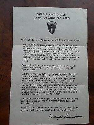Ww2 Allied Expeditionary Force Victory Memo To Troops - Dwight Eisenhower 1944