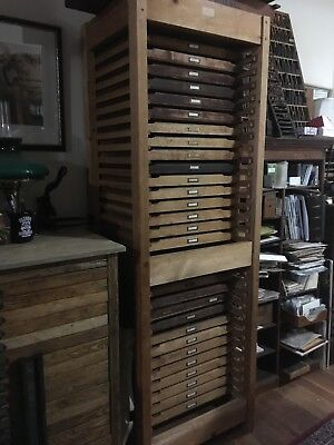 Letterpress Printers Cabinet w 29 Type Trays & 25 Typefaces (subject to change)
