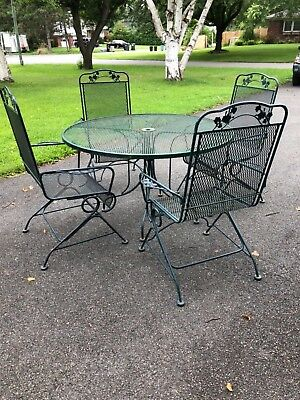 Vintage Sunbeam Green wrought iron 7pc Patio Table & Captain  spring Chair Set