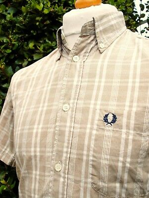Fred Perry Beige/ White Check Shirt - S/M - Ska Mod Scooter Casuals Vintage