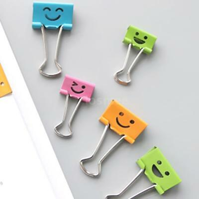60PCS Assorted Smiling Face Binder Office Metal School File Clips Organizer D5G0