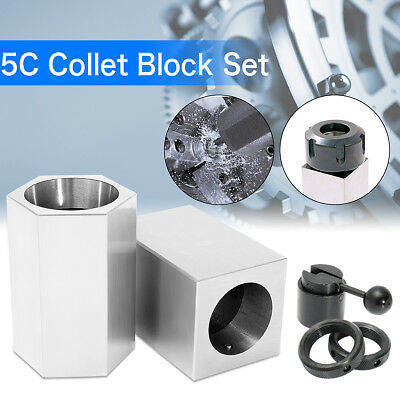 5C Collet Block Precision Set Square Hex Rings & Collet Closer Holder Milling US