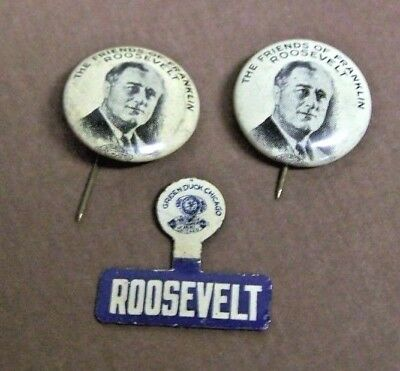 3 Vintage Friends of Franklin Roosevelt Pin Back Button Pin Presidential 1930's