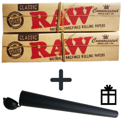 2 × RAW® Classic Connoisseur King Size Slim Paper & Tips + 1 Transporthülle