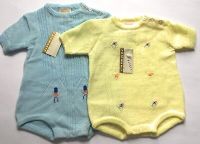 FRIEMANIT Knit Romper Lot of 2 Blue Yellow One Piece Baby Outfit Vintage NOS