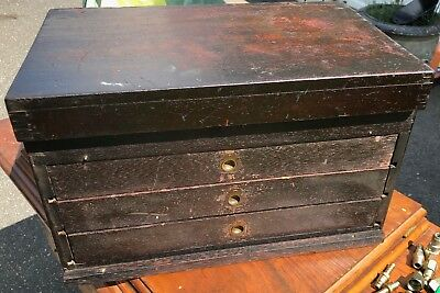 ANTIQUE MACHINIST AND CARPENTER, HAND MADE MAHOGANY TOOL CHEST w/ BRASS HARDWARE