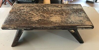 Vintage Primitive Antique Wood Stool Mini Bench Rustic White Washed