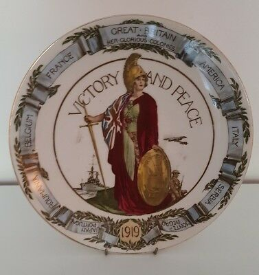 Old Royal Doulton Britannia Victory and Peace plate 1919
