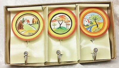 Art Deco look Kitchen Hooks-style of Clarice Cliff plates by Past Times-unused