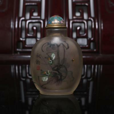 Old Chinese Hand painting inside-painting Snuff Bottle Spider Zhu Zhanyuan MK