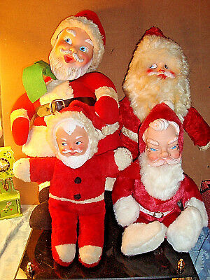 Vtg Lot Of 4 Plush Santa Dolls W/ Rubber Faces 2 Musical Wind Up Toys
