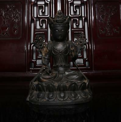 Old Chinese Carved Bronze Sit Statue Buddha H9.06""