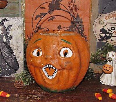 Primitive Antique Vtg Paper Mache Style Halloween Jack-O-Lantern Pumpkin Bucket