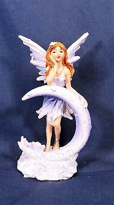 Fairy leaning on crescent moon resin  fantasy figurine (A)