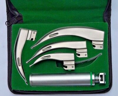Fiber Optic Macintosh Laryngoscope Set, 4 Blade+Medium Handle LED illumination,