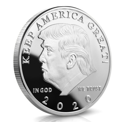 Donald J. Trump 2020 KEEP AMERICA GREAT! Proof Like 40MM Silver Challenge Coin