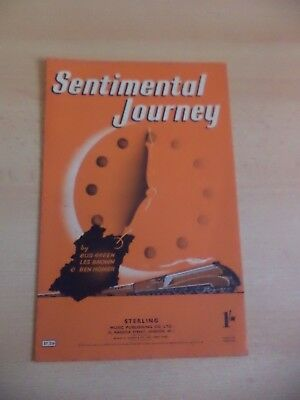 sentimental journey OLD VINTAGE PIANO SHEET MUSIC SONG 1940s green brown homer