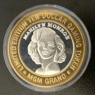 Limited Edition TEN DOLLAR .999 SILVER Gaming Token MGM Grand Marilyn Monroe