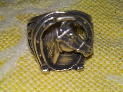 Beautiful Vintage Navajo Sterling Silver Horse And Horseshoe Ring