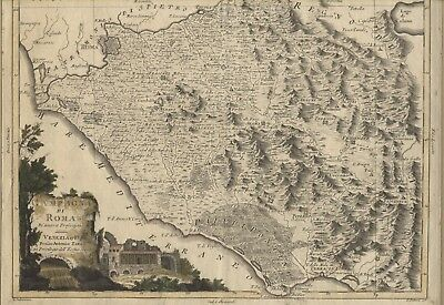 CARTA GEOGRAFICA ANTICA incisione rame map CAMPAGNA DI ROMA 1783