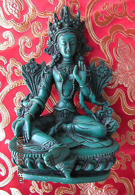 "Detailed 5 3/4"" Beloved Green Tara Blessing Tibetan Buddhist Statue Nepal"