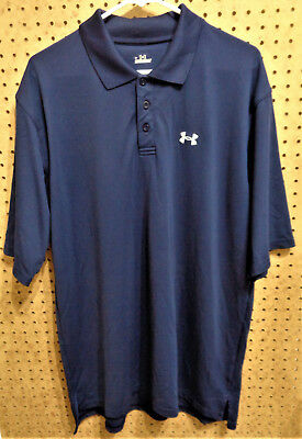 EUC UNDER ARMOUR LOOSE FIT Men's Navy Blue SS Polo Golf Shirt Size LG