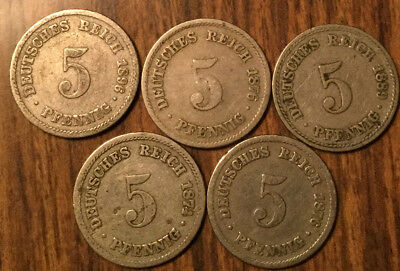 Lot Of 5 German States 5 Pfennig Lot Of 5 Coins