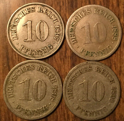 Lot Of 4 German States 10 Pfennig Lot Of 4 Coins