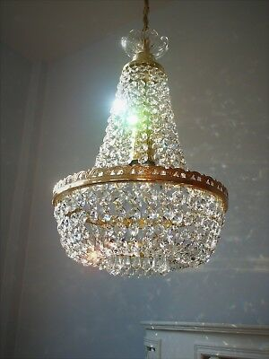 *SO PRETTY* VINTAGE FRENCH STYLE GLASS & LEAD CRYSTAL CHANDELIER LIGHT 1 0f 2