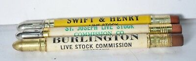 Lot of 3 Vintage Bullet Pencils Advertising Stockyards St Joseph Missouri MO