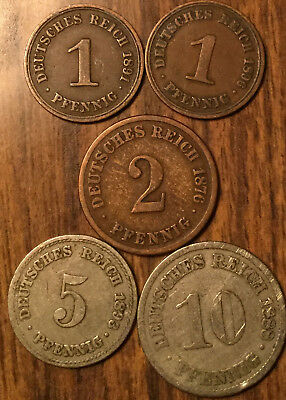 LOT OF 5 GERMAN STATES 1, 2, 5 and 10 PFENNIG LOT OF 5 COINS