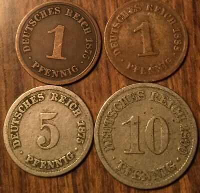 LOT OF 4 GERMAN STATES 1, 5 and 10 PFENNIG LOT OF 4 COINS