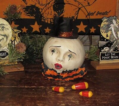 Primitive Antique Vtg Style Halloween Paper Mache Magic Clown Man Moon Bucket