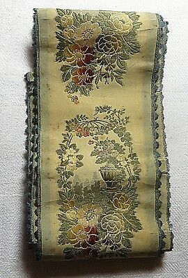 """Antique Very Old French Silk Ribbon 64"""" x 2.5 Floral Pattern Repeated."""