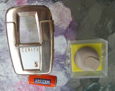 "Vintage Mid Century Modern ZENITH Super Extended Range Hearing Aid & ""A"" Battery"