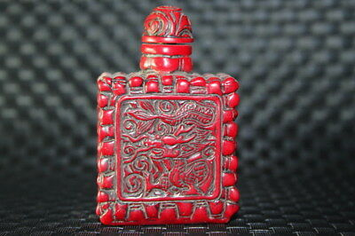 Decoration Collectable Exquisite Coral Carve Two Dragon Auspicious Snuff Bottle