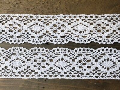 "laverslace - White Vintage Antique Cotton Cluny Crochet Lace Trim 1.5""/4cm"