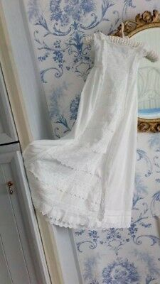Antique christening gown , Beautiful long gown ,broderie anglais& pin tucks
