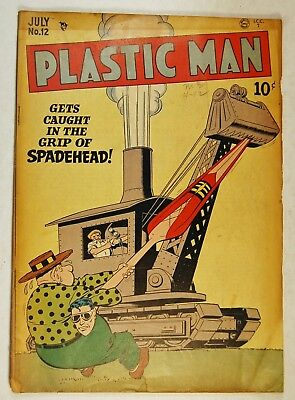Plastic Man #12 (Jul 1948, Quality Comics) Caught in the Grip of Spadehead!