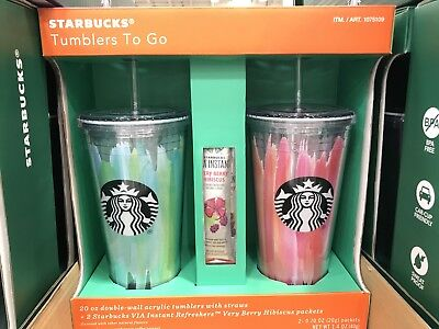 Starbucks Tumblers To Go 20 oz. Acrylic Cold Cup 2 Pack Gift Set NEW w' packets