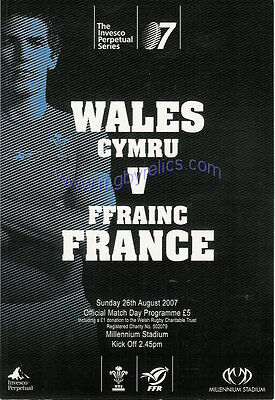 WALES v FRANCE 2007 RUGBY PROGRAMME 26 Aug at CARDIFF WORLD CUP WARM UP MATCH
