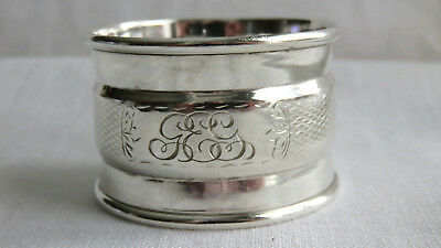 Antique Chester England Sterling Silver Napkin Ring Engraved Geg