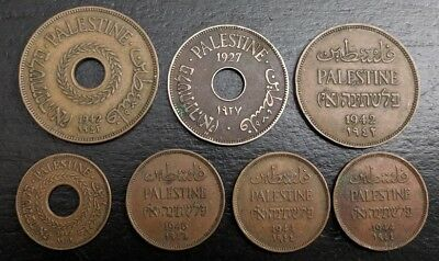 Lot of 7 Palestine Coins 1927-1946  / Very Good to Excellent Grade