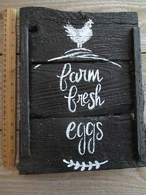 Primitive FARM FRESH EGGS Chicken Hen new calligraphy wood sign vintage antique
