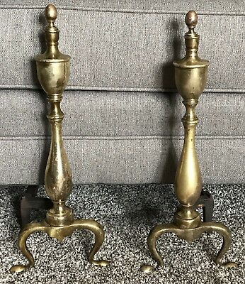 Antique Vintage Mission Brass Cast Iron Andiron Fire Dogs Log Holders Fireplace