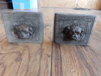 "Pair Of Very Rare Primitive  Antique Cast Iron ""dog"" Drawer Pulls"