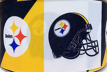"3"" Pittsburgh Steelers Football Grosgrain Ribbon For Hair Bows Diy Crafts 3 Inch"